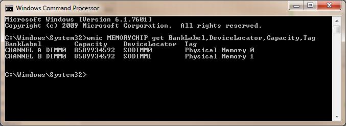 RAM check - wmic