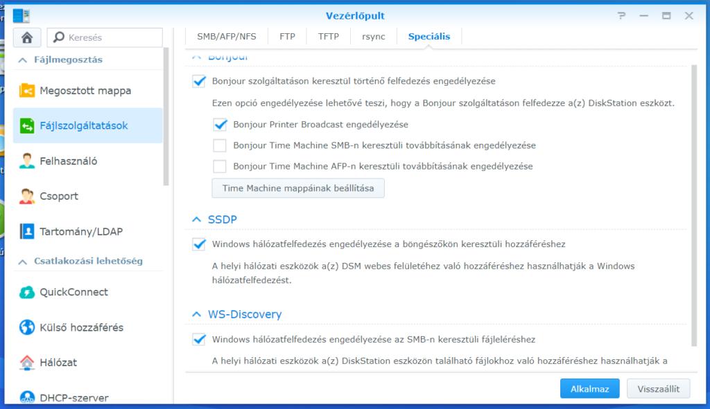 DSM - Fájlszolgáltatások - Speciális